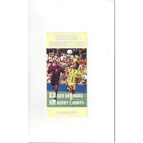 Den Haag v Derby County Friendly Football Programme + Team Sheet 2000/01