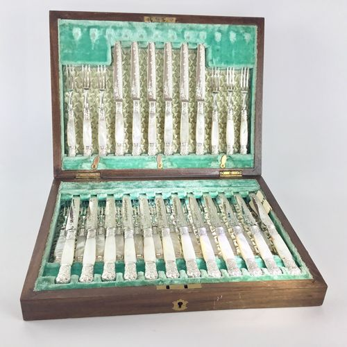 Sublime 36 piece mother of pearl and silver cutlery canteen