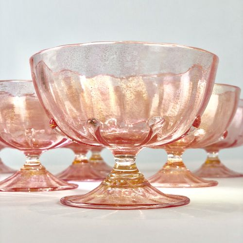 Salviati pink and gold glass sundae dishes Circa 1940s