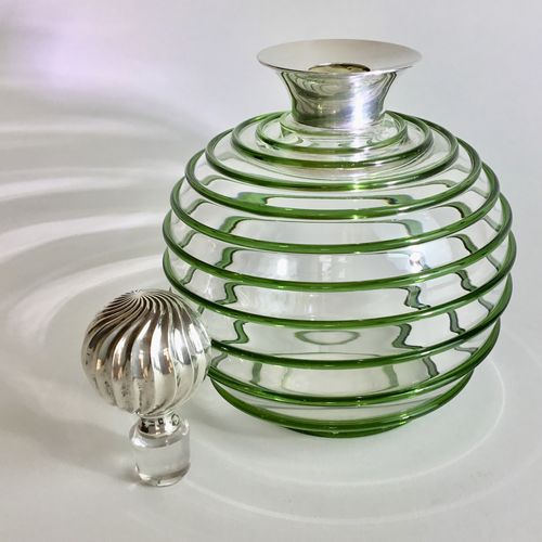 Superb green spiral and silver decanter hallmarked 1901
