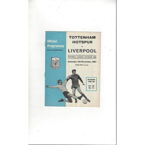 1967/68 Tottenham Hotspur v Liverpool Football Programme