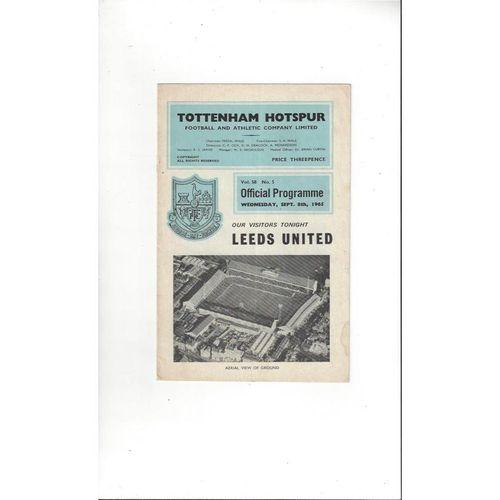 1965/66 Tottenham Hotspur v Leeds United Football Programme