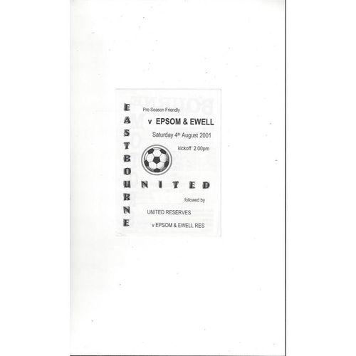 Eastbourne v Epsom & Ewell Friendly Football Programme 2001/02