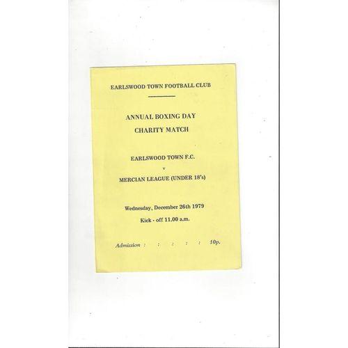Earlswood Town v Mercian League U18 Friendly Football Programme 1979/80