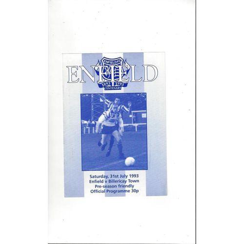 Enfield v Billericay Friendly Football Programme 1993/94