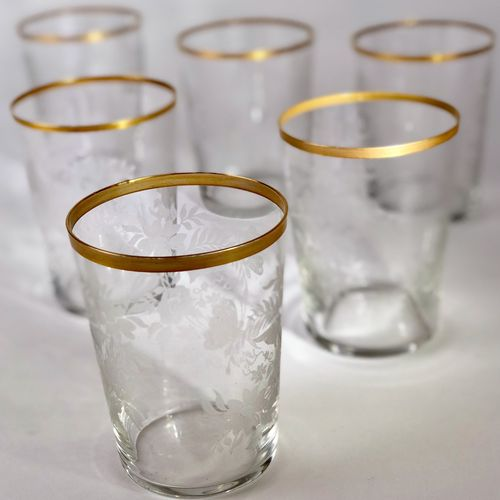 1920s gold rimmed floral & butterfly etched glass tumblers