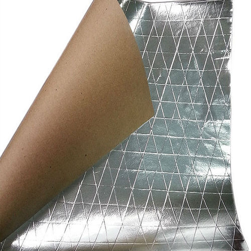 MSK (Metallised Film Scrim Kraft) 12 Micron Metallised Film/PE/Tri-directional Scrim 8mm x 12mm/60gsm Recycled Kraft