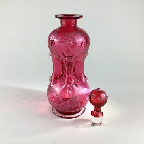 Unusual Victorian pinch waist decanter