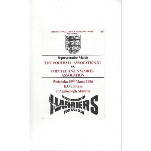 FA X1 v Polytechnics Sports Friendly Football Programme 1985/86 @ Kidderminster