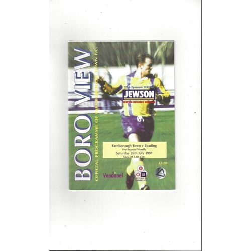 Farnborough Town v Reading Friendly Football Programme 1997/98