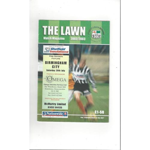 Forest Green Rovers v Birmingham City Friendly Football Programme 2002/03
