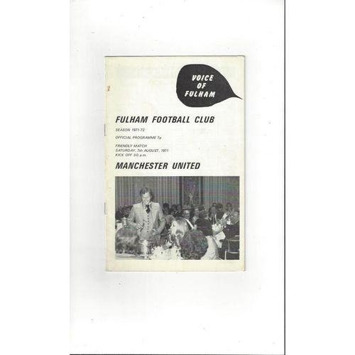 Fulham v Manchester United Friendly Football Programme 1971/72