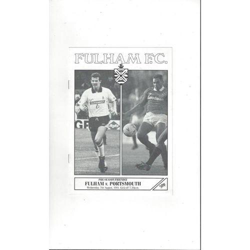 Fulham v Portsmouth Friendly Football Programme 1991/92
