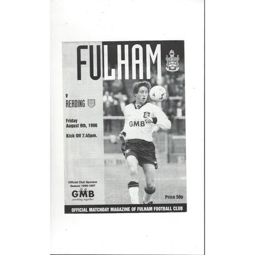 Fulham v Reading Friendly Football Programme 1996/97