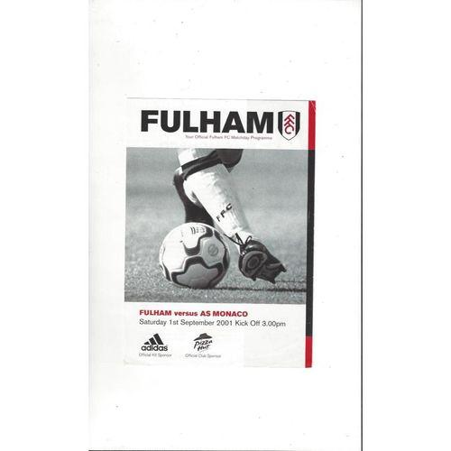 Fulham v Monaco Friendly Football Programme 2001/02