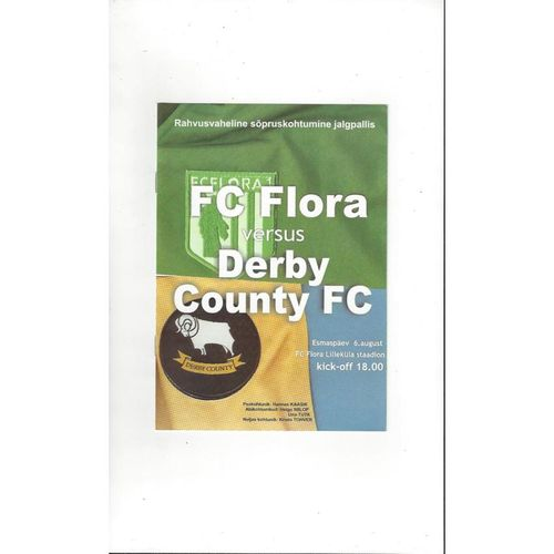 FC Flora v Derby County Friendly Football Programme 2001/02
