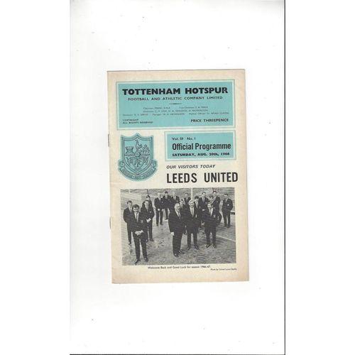 1966/67 Tottenham Hotspur v Leeds United Football Programme