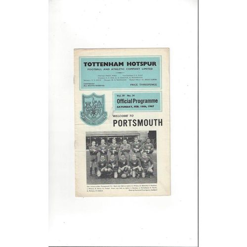 1966/67 Tottenham Hotspur v Portsmouth FA Cup Football Programme