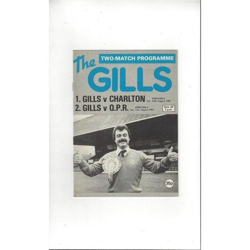 Gillingham v Charlton Athletic & Queens Park Rangers Friendly Double Football Programme 1982/83