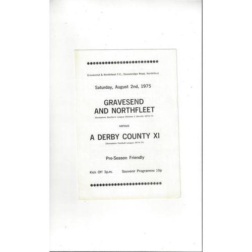 Gravesend & Northfleet v Derby County Friendly Football Programme 1975/76
