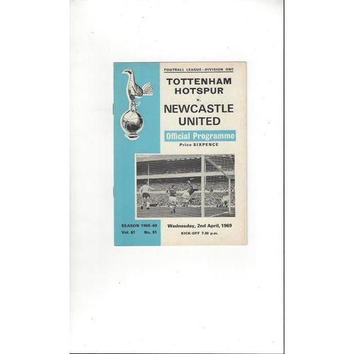 1968/69 Tottenham Hotspur v Newcastle United Football Programme