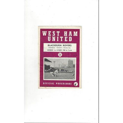 1960/61 West Ham United v Blackburn Rovers Football Programme