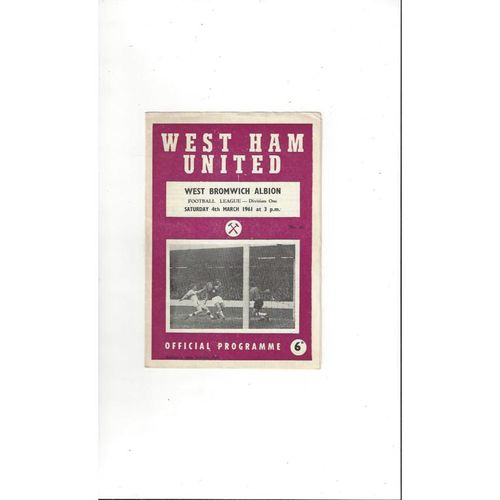 1960/61 West Ham United v West Bromwich Albion Football Programme