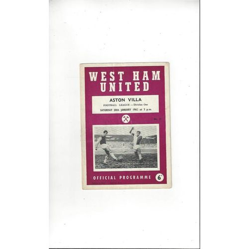 1961/62 West Ham United v Aston Villa Football Programme