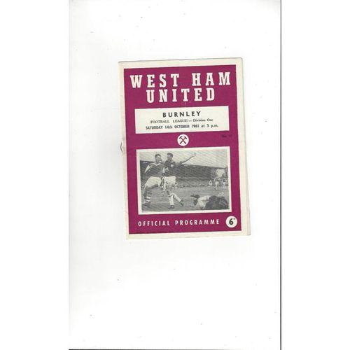 1961/62 West Ham United v Burnley Football Programme