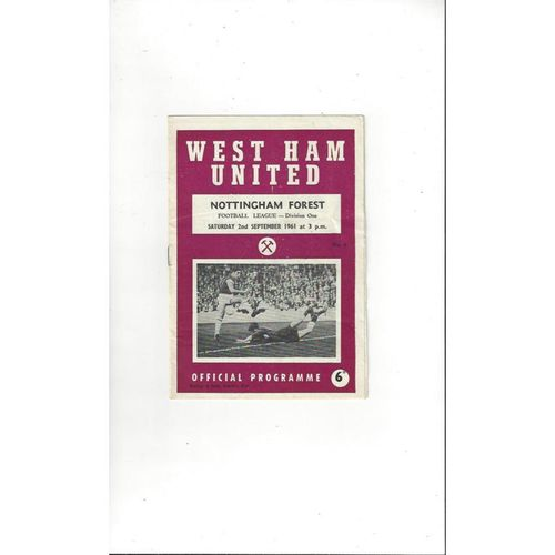 1961/62 West Ham United v Nottingham Forest Football Programme