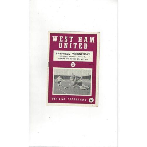 1961/62 West Ham United v Sheffield Wednesday Football Programme