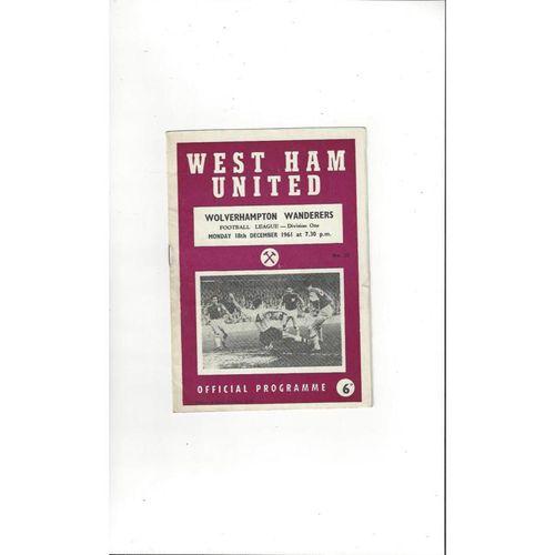 1961/62 West Ham United v Wolves Football Programme