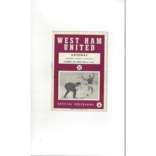 1962/63 West Ham United v Arsenal Football Programme