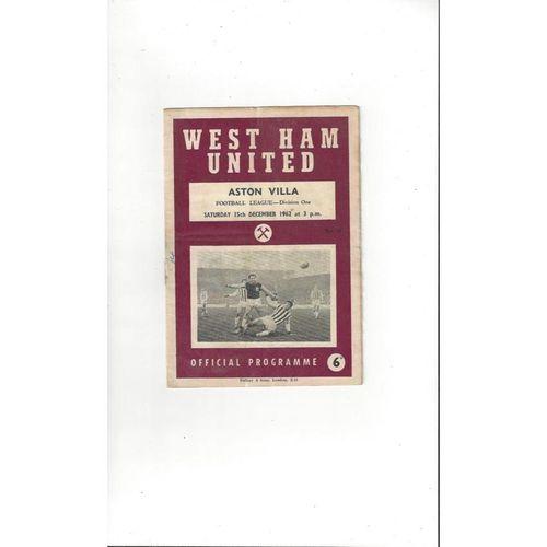 1962/63 West Ham United v Aston Villa Football Programme