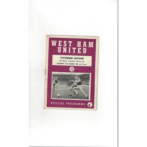 1962/63 West Ham United v Tottenham Hotspur Football Programme