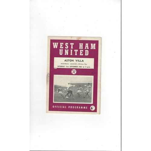 1963/64 West Ham United v Aston Villa Football Programme
