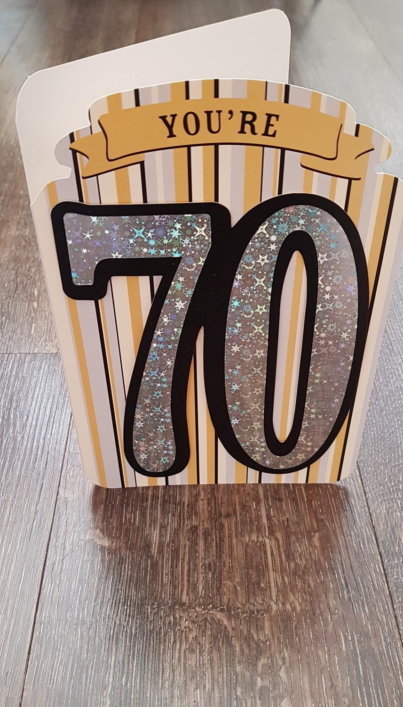 70th Gold Silver Stripes Birthday Card