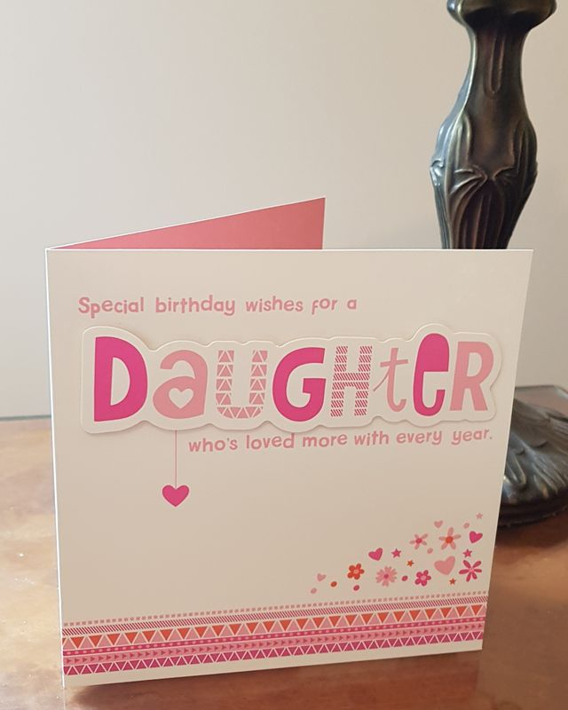 Daughter Pink Hearts Birthday Card