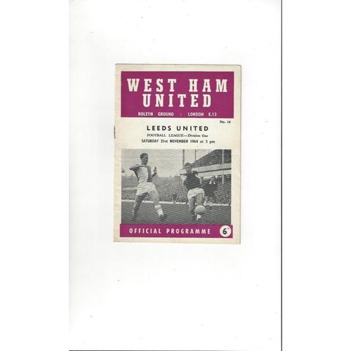 1964/65 West Ham United v Leeds United Football Programme