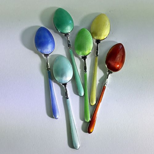 Sterling silver and Guilloche enamel spoons dated 1954