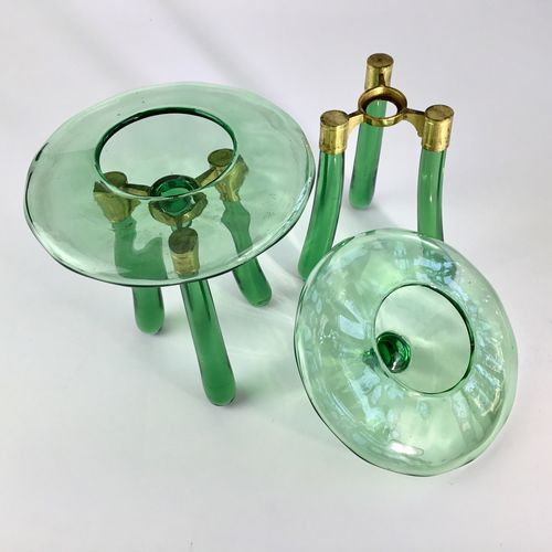 Pair of Secessionist glass and gilt table centrepieces