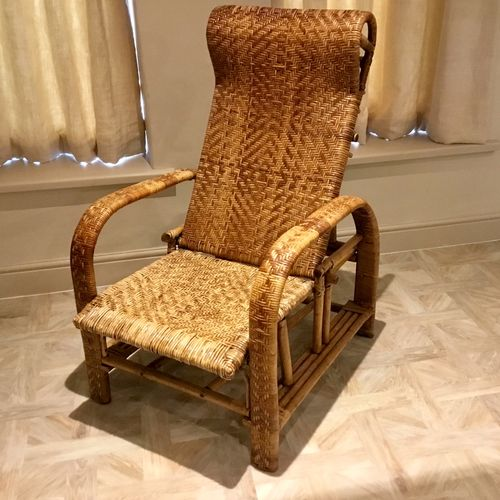 French bamboo and woven rattan recliner armchair 1920s