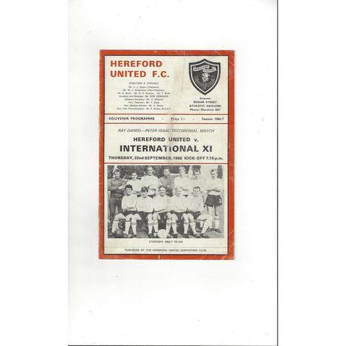 Hereford United v International X1 Daniel & Isaac Testimonial Programme 1966/67