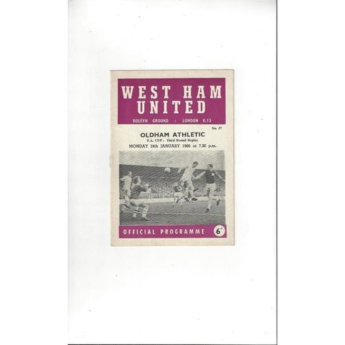 1965/66 West Ham United v Oldham Athletic FA Cup Replay Football Programme