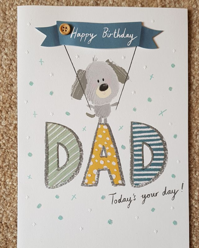Happy Birthday Dad Dog Banner Card Remember That Card Greeting