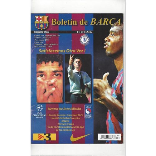 2005/06 Barcelona v Chelsea Champions League Football Programme RARE
