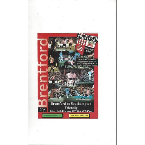 Brentford v Southampton Friendly Football Programme 1996/97