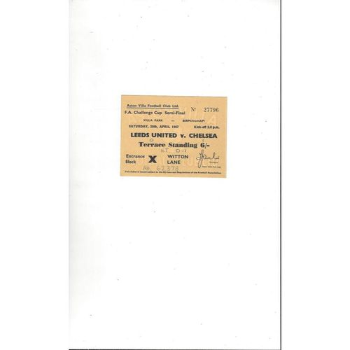 Leeds United v Chelsea FA Cup Semi Final Match Ticket 1967