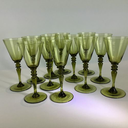 12 early 20th Century green Bohemian wine glasses