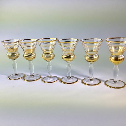 Gold ringed Thistle shaped liqueur glasses 1950s
